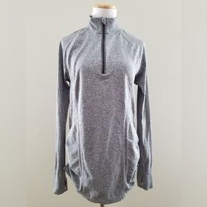 Athleta Fastest Track Gathered Side Gray Zip Top